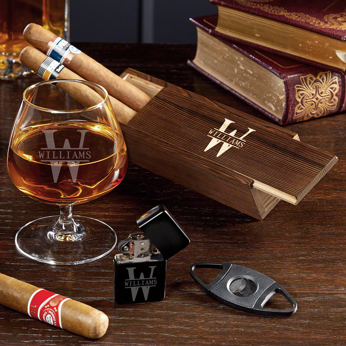 Oakmont Personalized Cognac and Cigar Gift Set