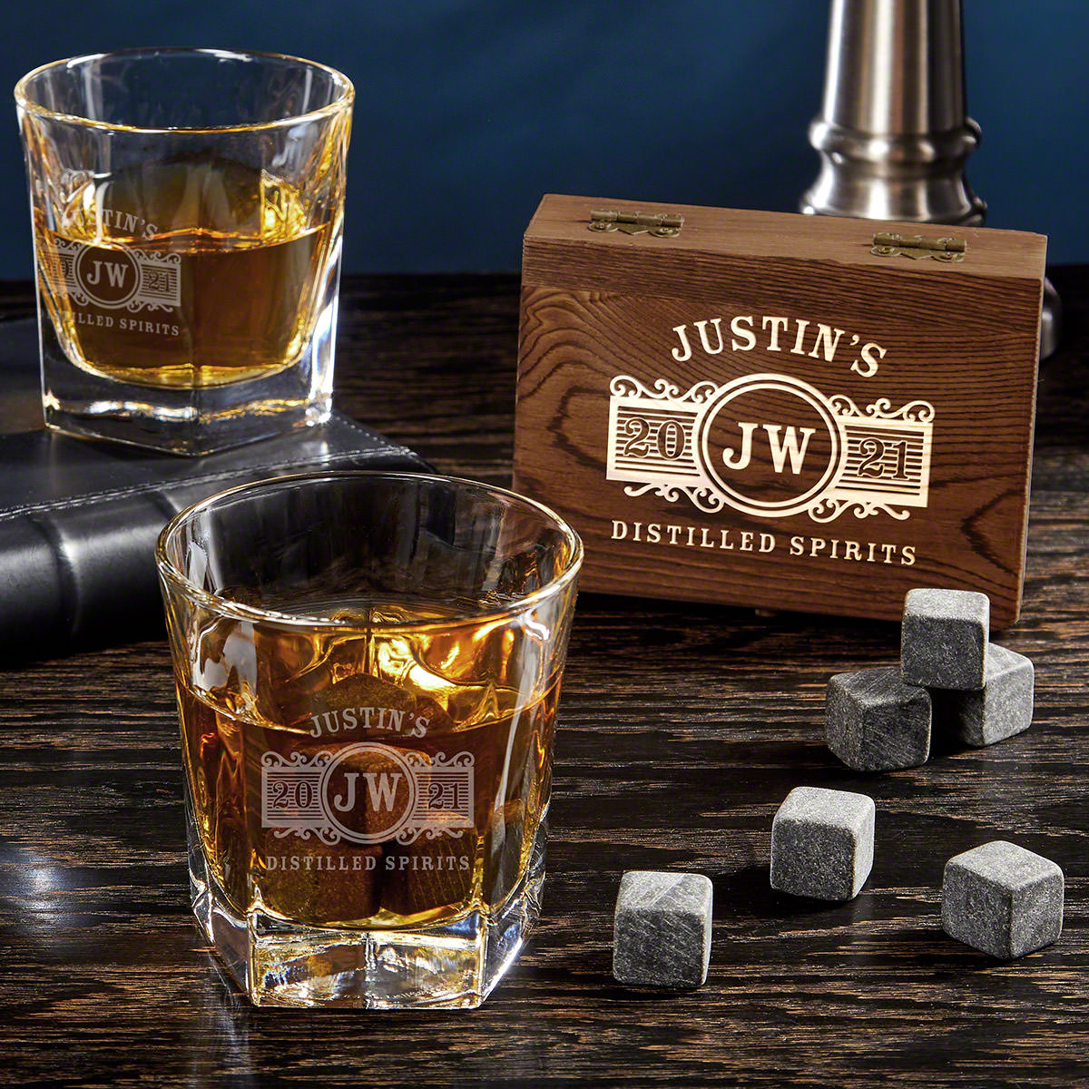 Marquee Engraved Colchester Whiskey Glass Set with Whiskey Stones