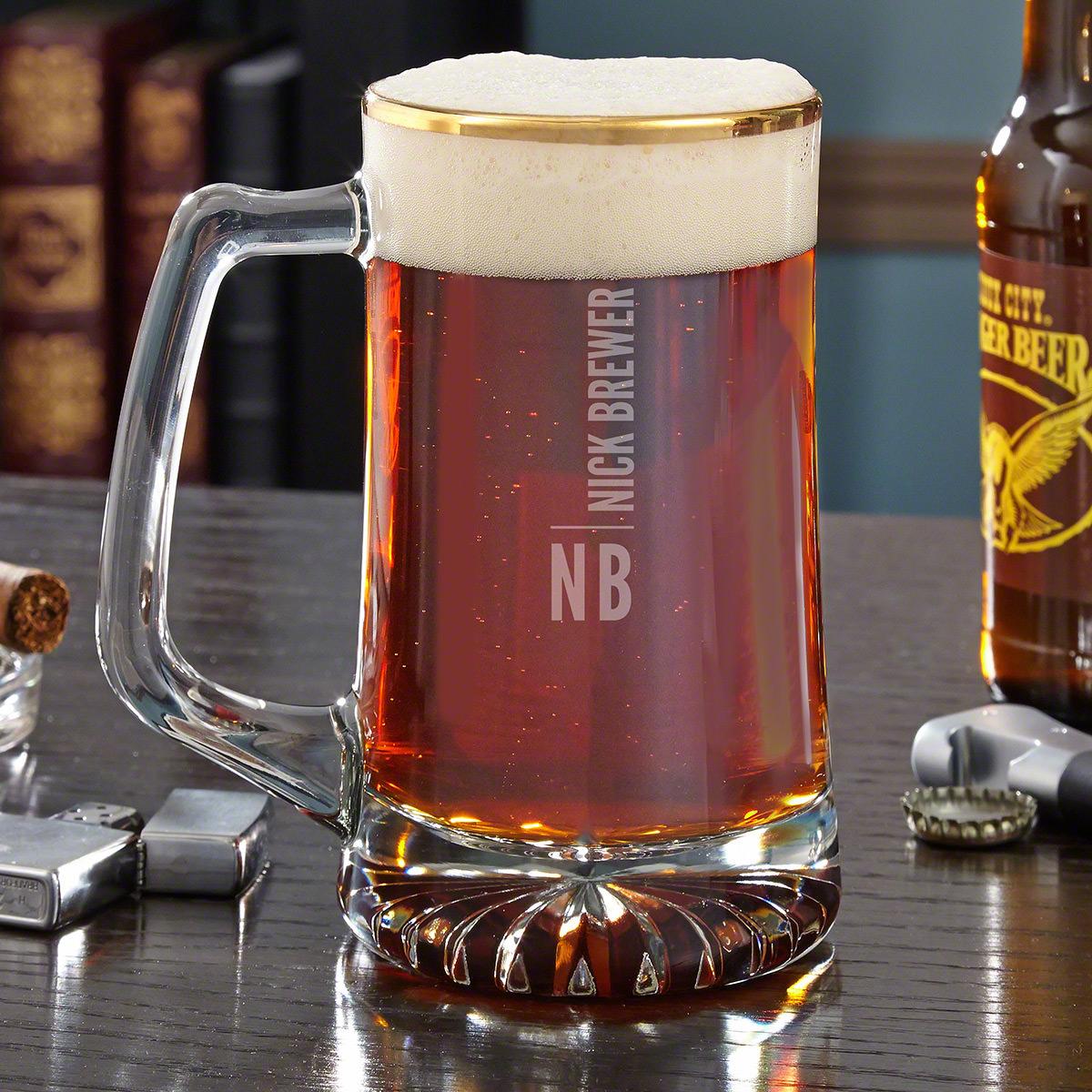 Calvin Gold Rimmed Personalized Beer Mug