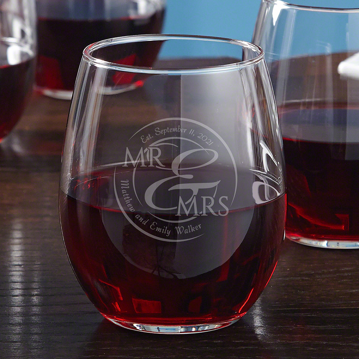 When Love Comes Together Etched Stemless Wine Glass
