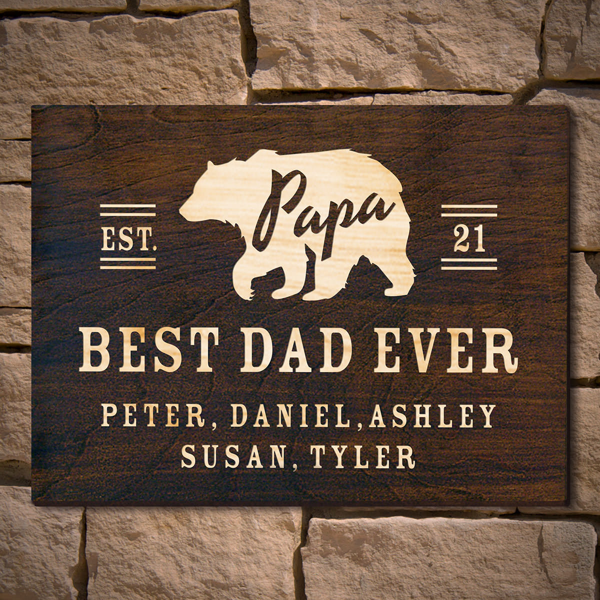 Papa Bear Custom Wooden Sign Gift for Dad (Signature Series)