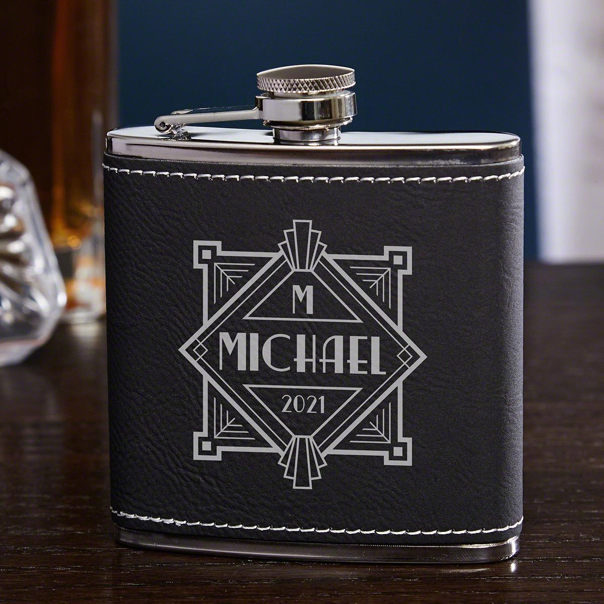 Speakeasy Personalized Black Faux Leather Flask