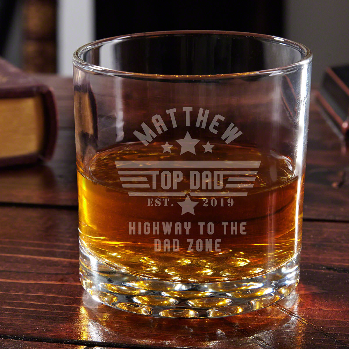 Top Dad Personalized Buckman Whiskey Glass Gift for Dad