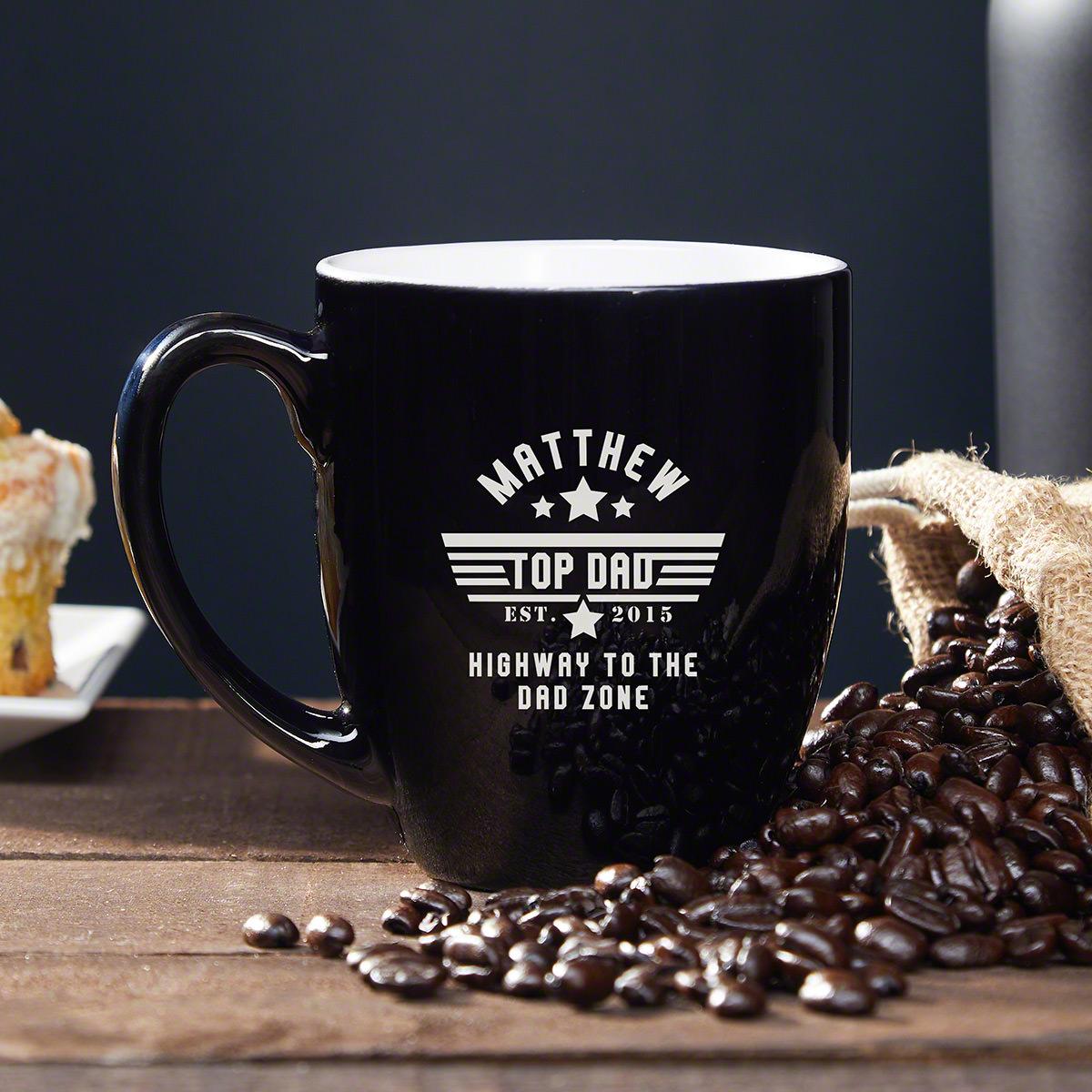 Top Dad Black Ceramic Coffee Mug Custom Dad Gift
