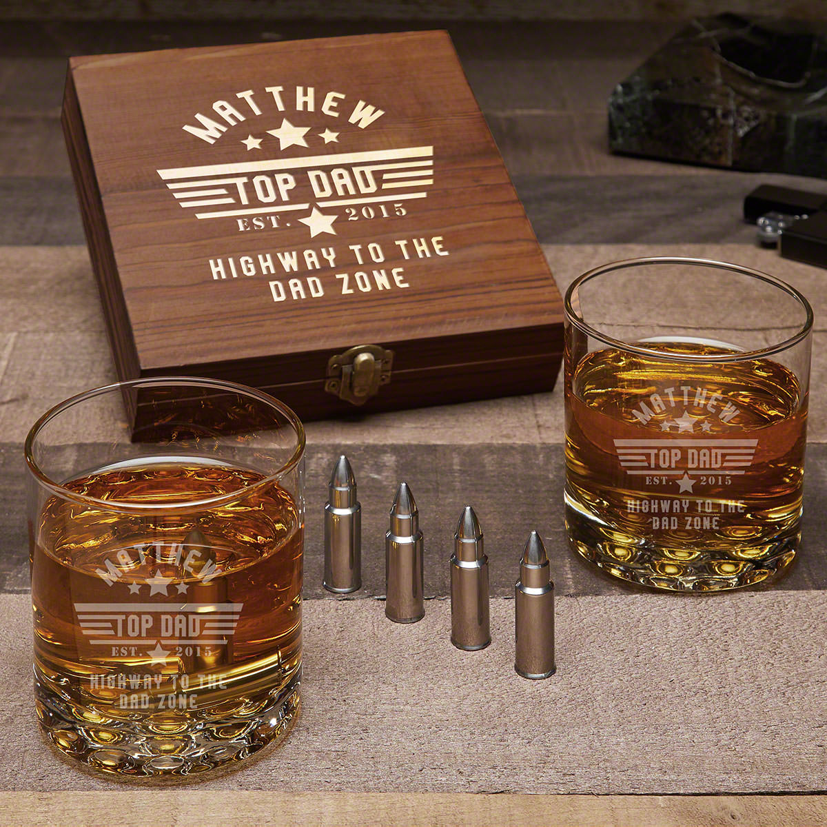 Top Dad Personalized Bullet Whiskey Stone Gifts for Dad