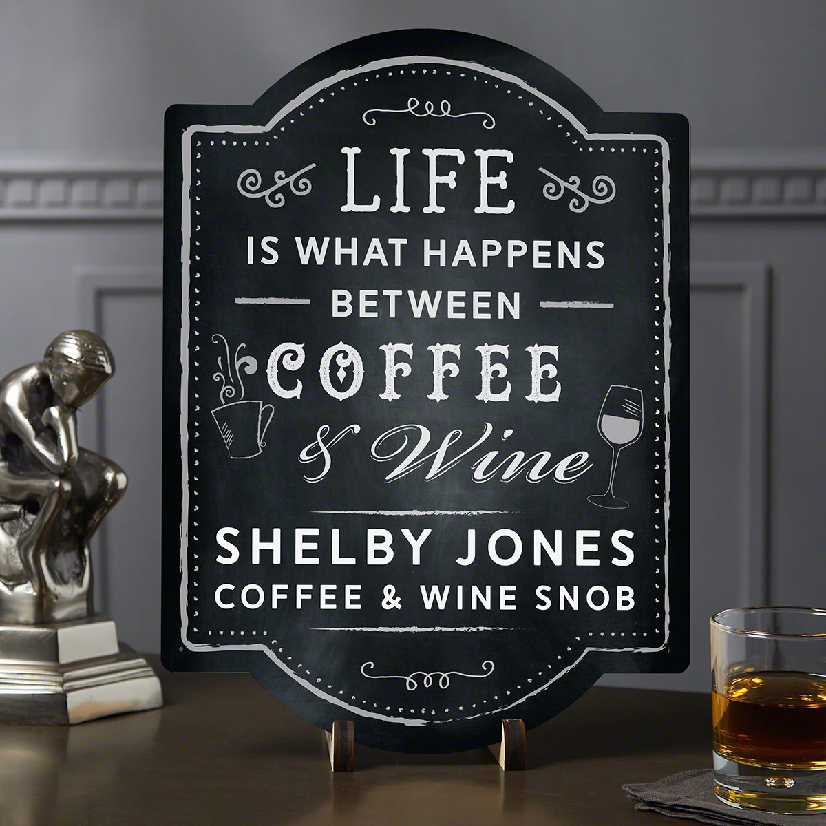 Between Coffee and Wine Custom Wine and Coffee Sign
