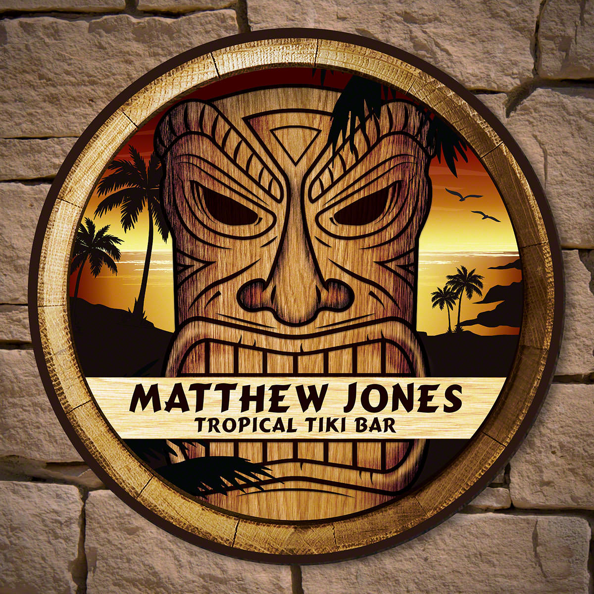 No matter where you live, you can make your home, home bar, garage, or grilling area feel like the ultimate luau with your very own tiki bar sign. This custom sign is also a great gift for your dad or husband. You know they love entertaining and nothing m #bar