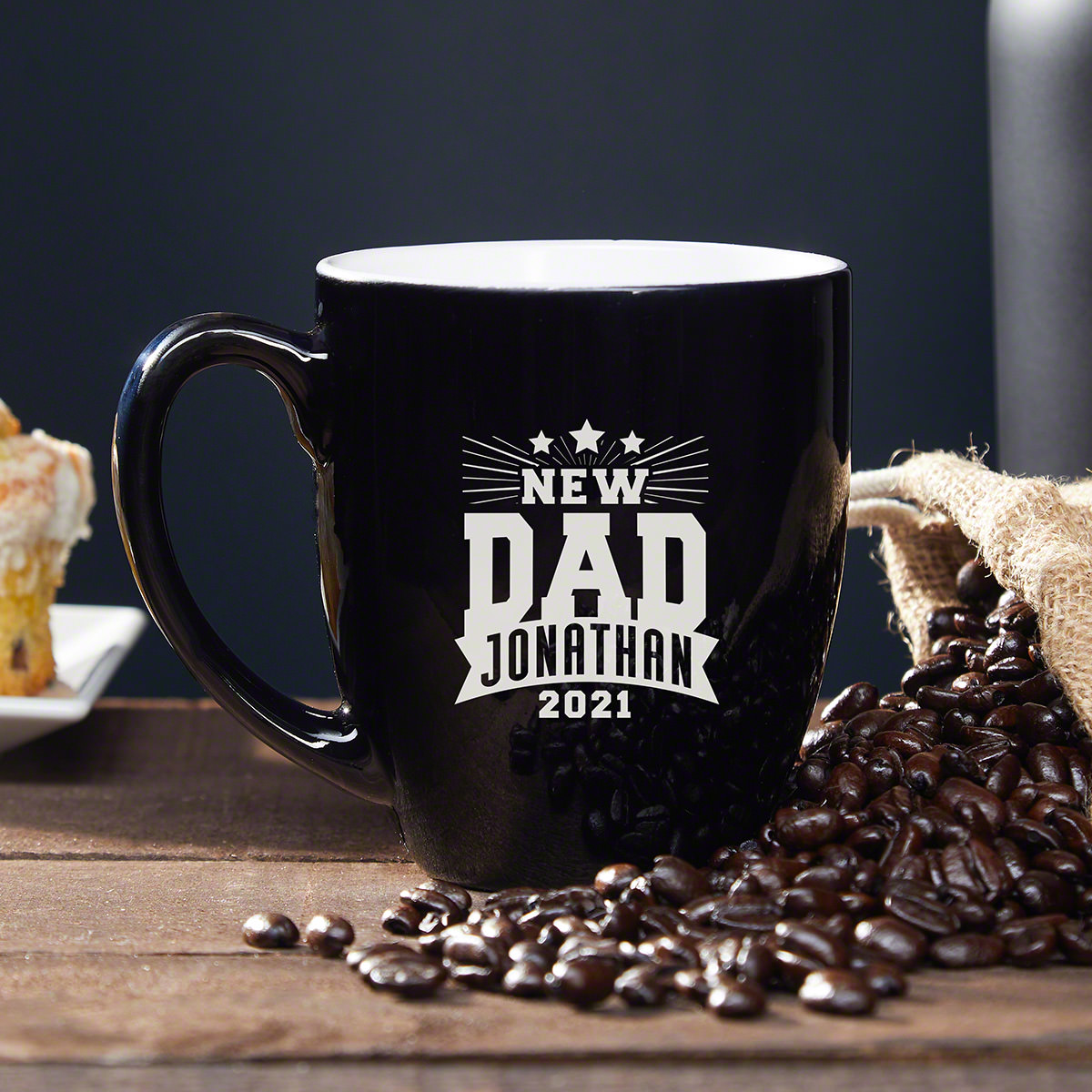 Looking for a nice gift for the new dad in your life? He's probably pretty tired now that his baby is here, and he would love a personalized coffee mug to use for his multiple cups of coffee every day! He'll love the fun design, which will give him a #mug