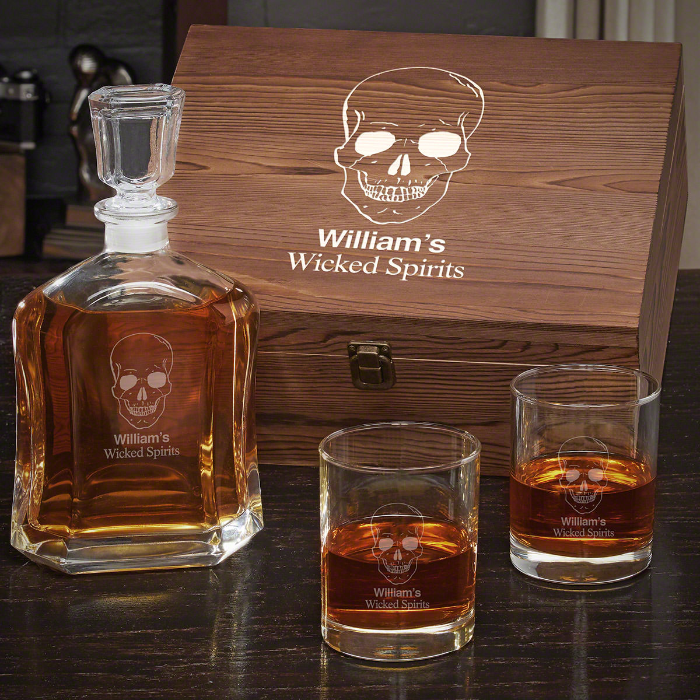 Phantom Skull Personalized Whiskey Decanter Set