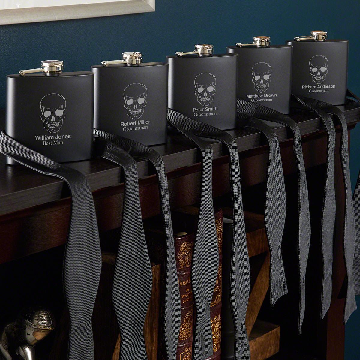 Phantom Skull Engraved Flask Set Of Five Groomsmen Gifts