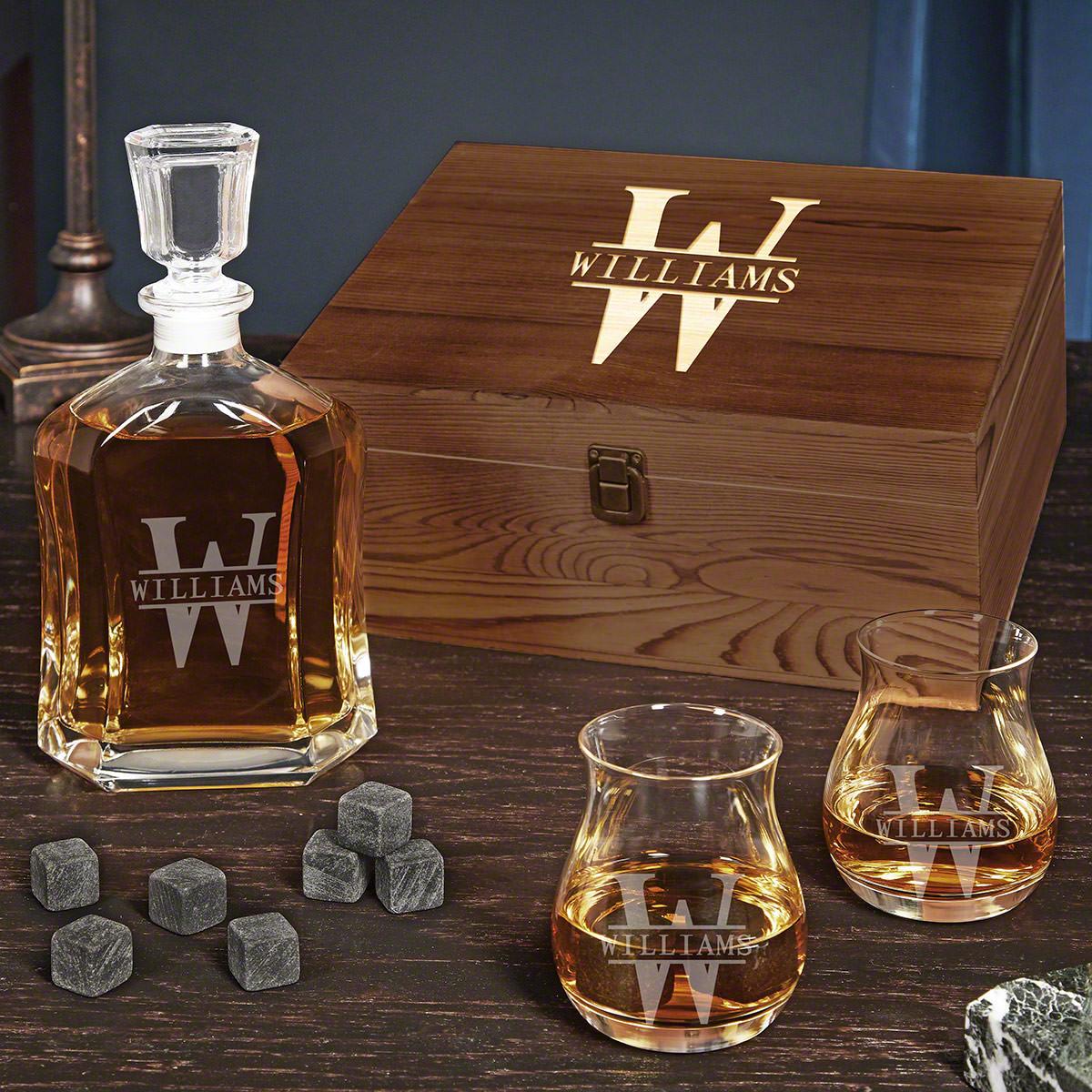 Oakmont Customized Canadian Glencairn Glasses Whisky Decanter Set