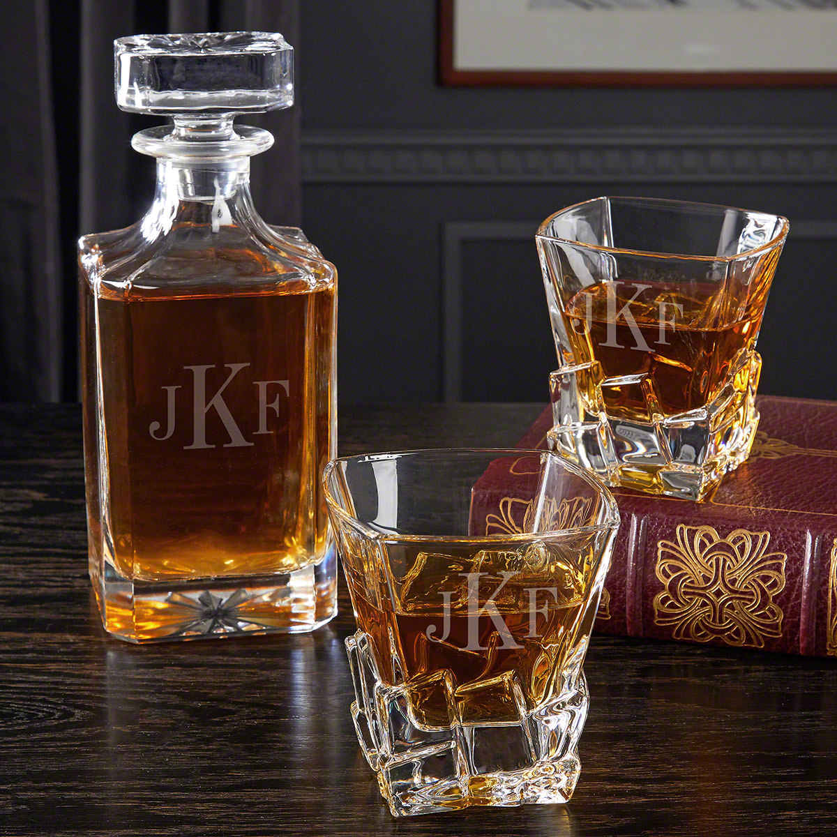 Classic Monogram Engraved Whiskey Decanter Set with Iceburg Glasses