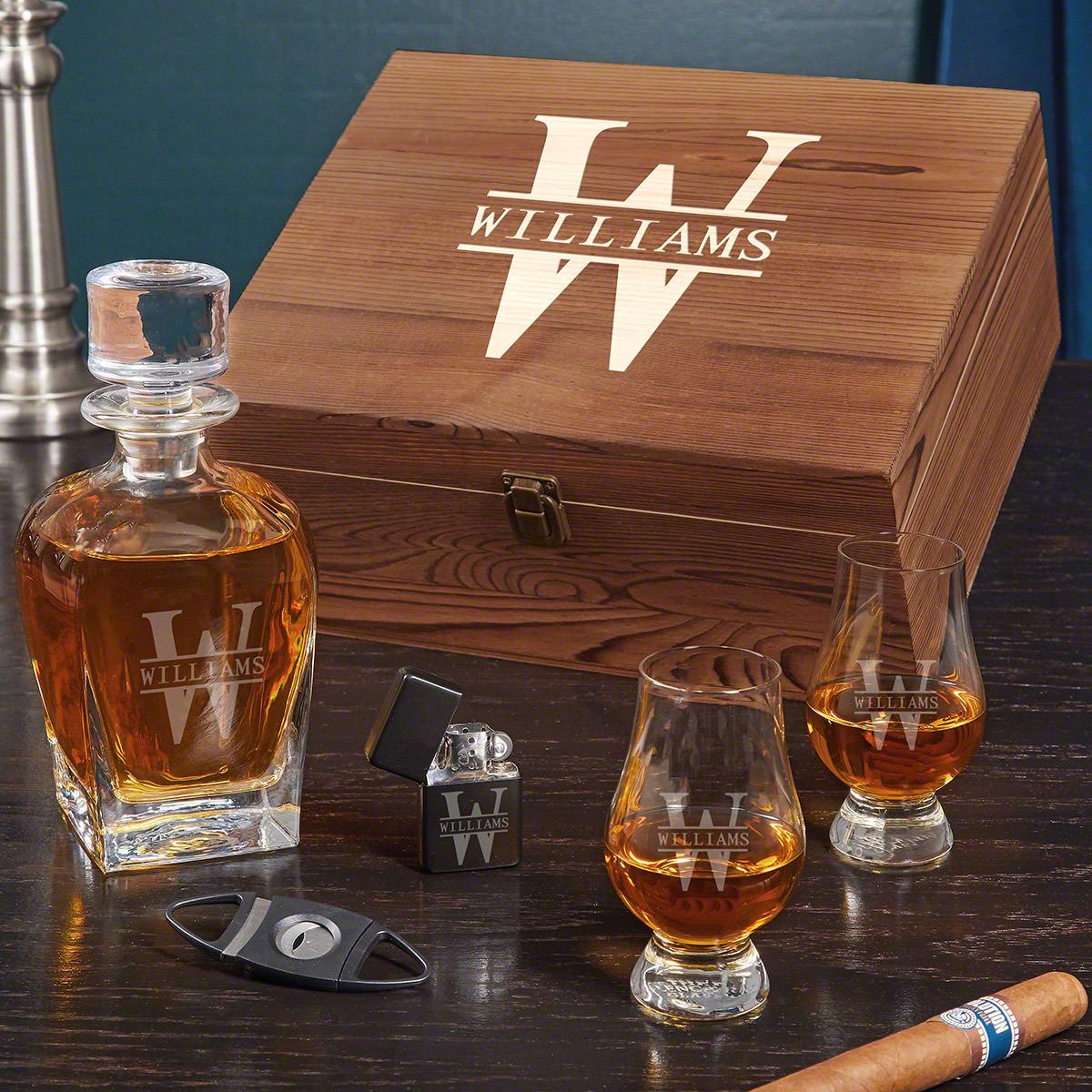 Oakmont Draper Personalized Whiskey Gift Set with Glencairn Glasses