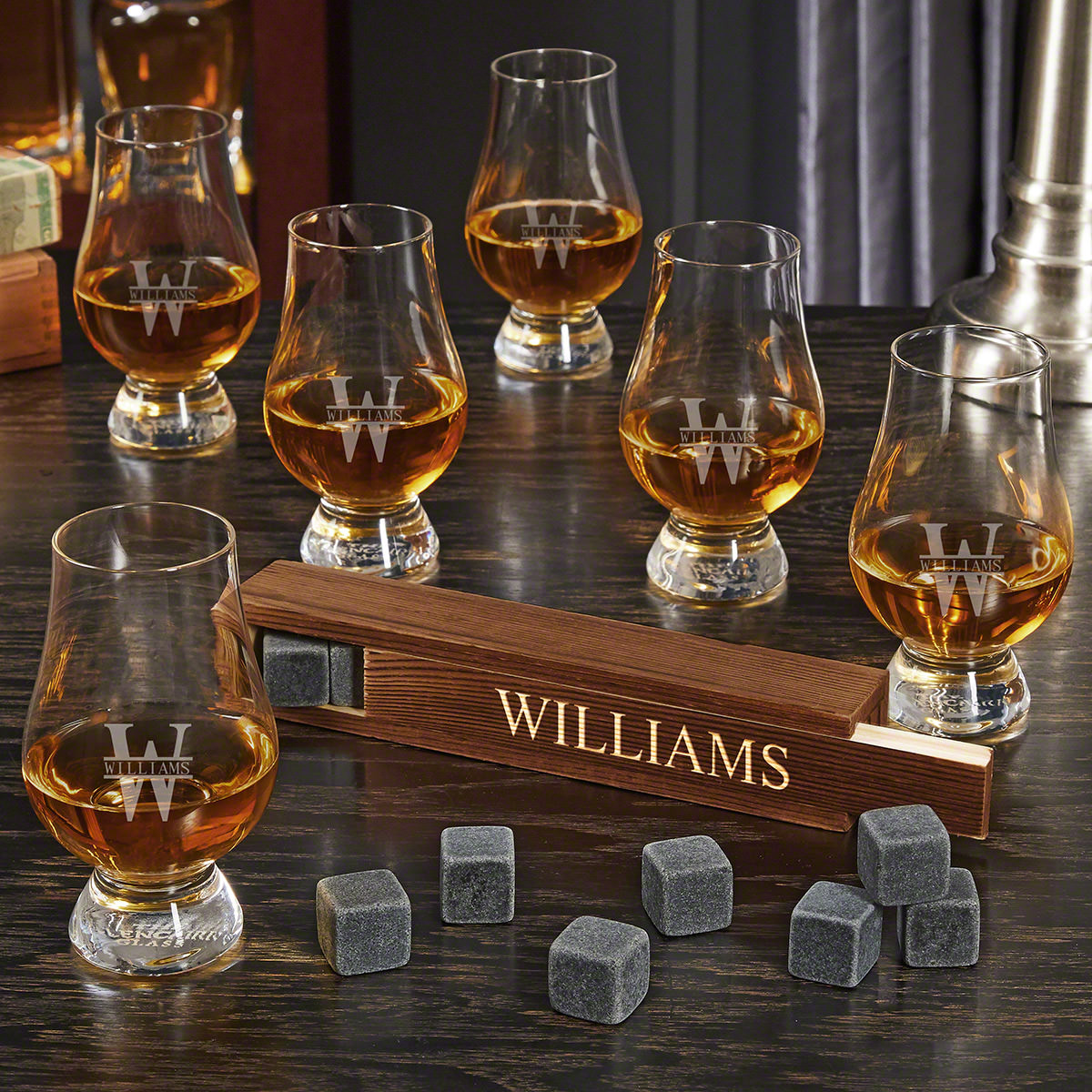 Oakmont Engraved Whiskey Stone Set with 6 Glencairn Whiskey Tasting Glasses