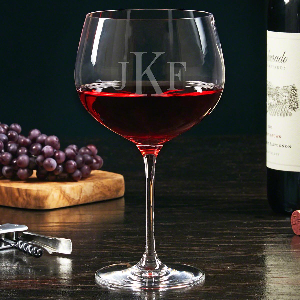 Classic Monogram Custom Balloon Wine Glass