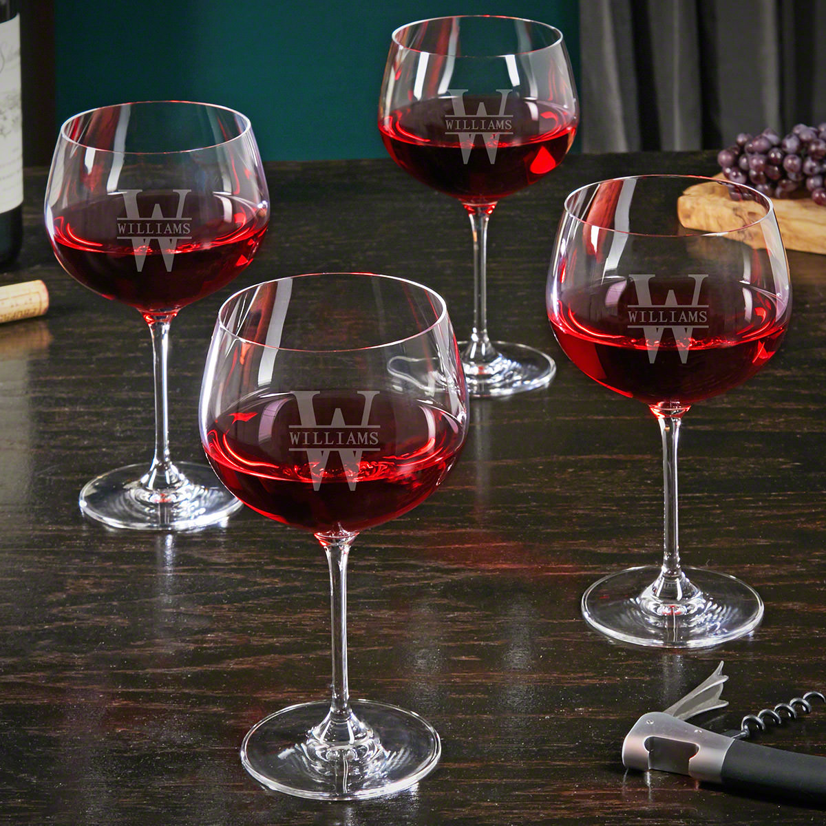 Oakmont Custom Balloon Wine Glasses Set of 4