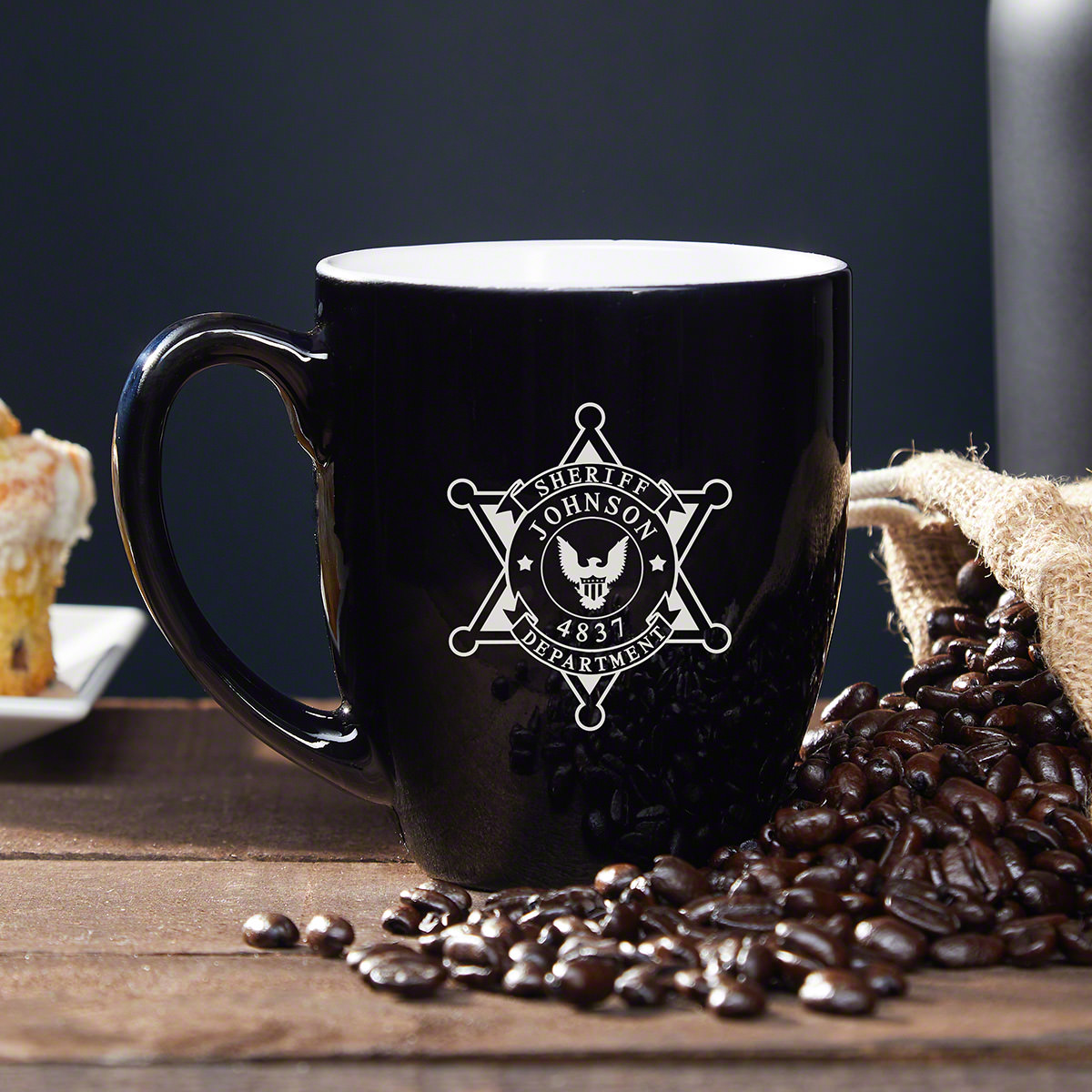 Members of the police force are extremely hard-working individuals, especially sheriffs, so a morning cup of joe is essential. This custom coffee mug is an amazing sheriff gift that any sheriff will love. This sleek black mug has a sheriff badge along wit #mug