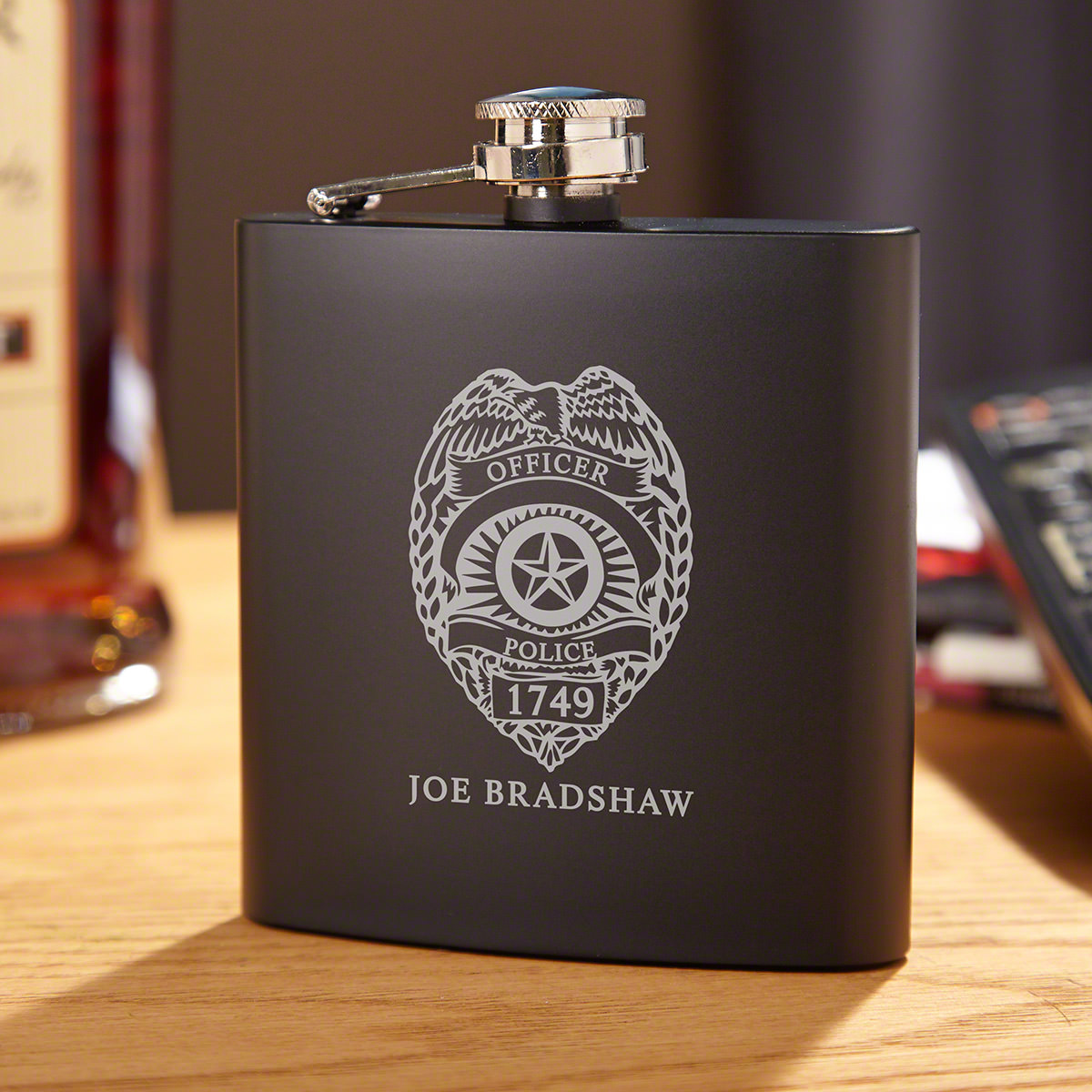 Police Badge Engraved Flask Gift for Police Officers