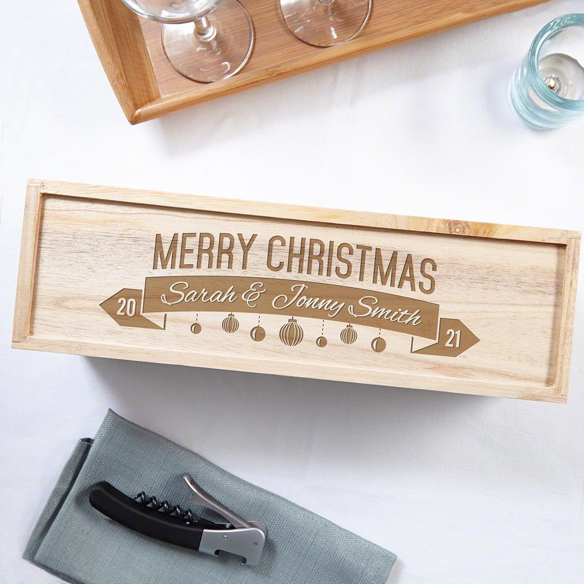 Pinot Noel Custom Christmas Wood Wine Box