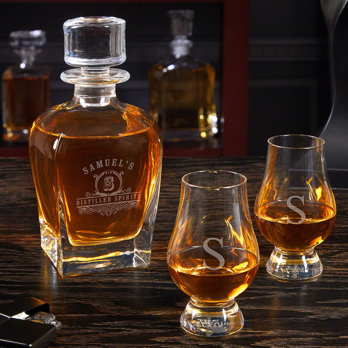 Carraway Engraved Draper Whiskey Decanter Set with Glencairn Glasses