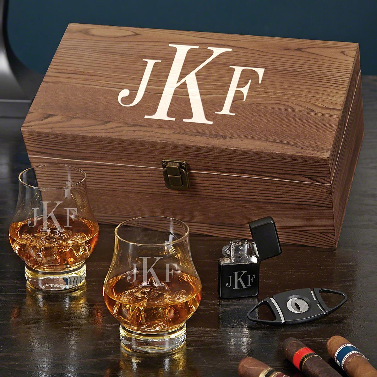 Classic Monogram Custom Wescott Double Snifter Whiskey and Cigar Gift Set