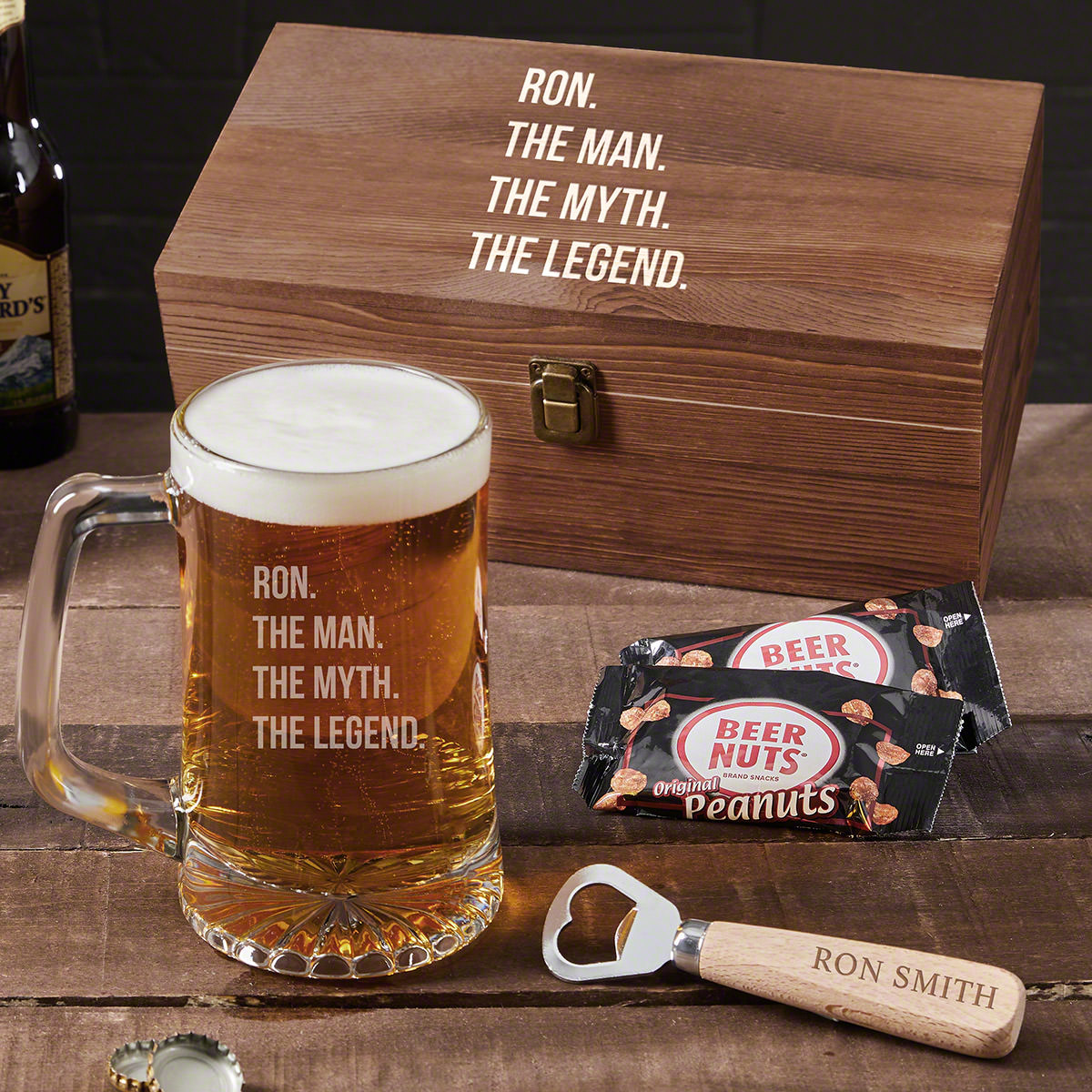 What's better than an awesome beer mug? An even more awesome custom beer mug set! This set includes not only a super cool mug, but a bottle opener, two packages of beer nuts, and a wooden box. You can use the handsome beech wood bottle opener to pop ope #mug