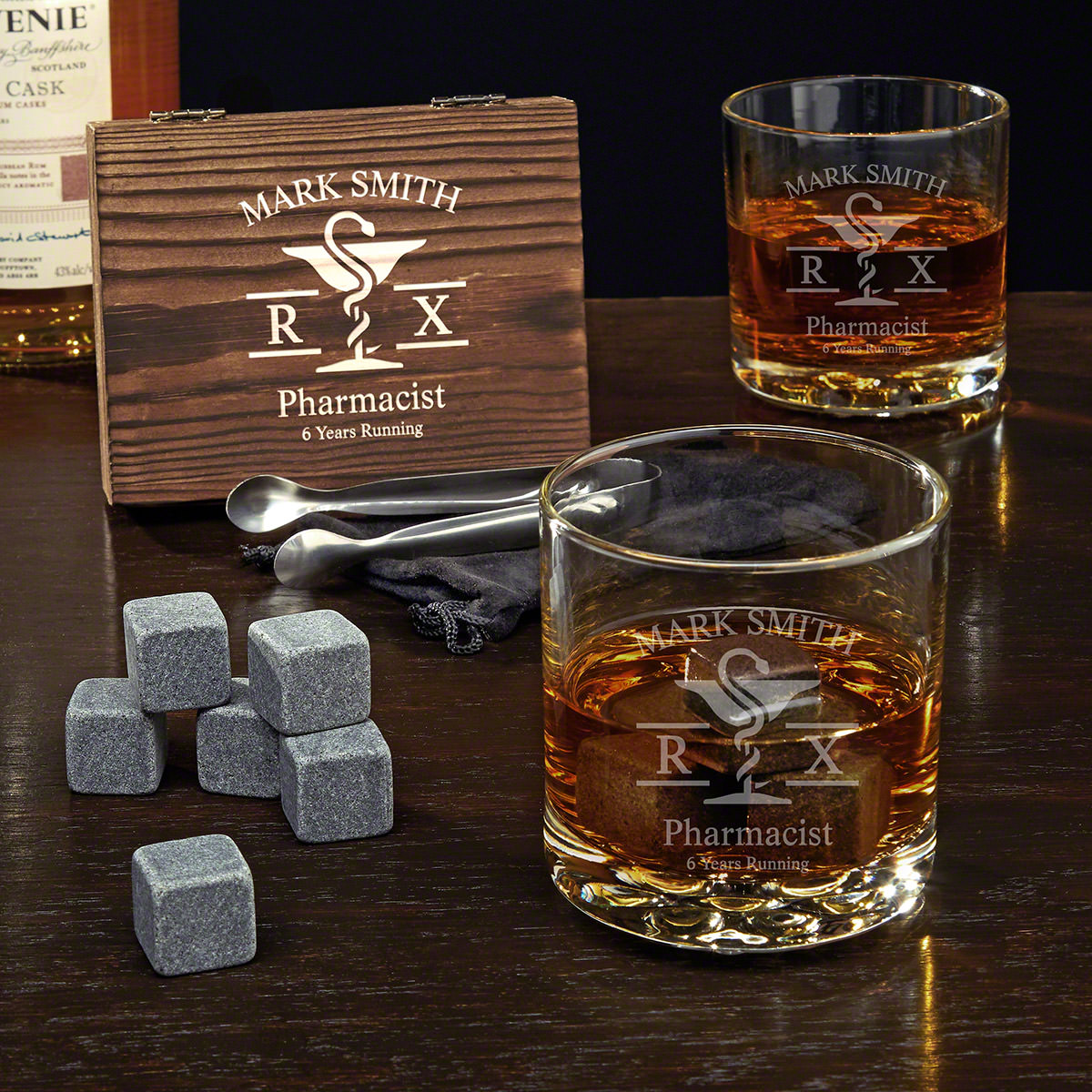 Mortar and Pestle Engraved Whiskey Stone Pharmacist Gifts