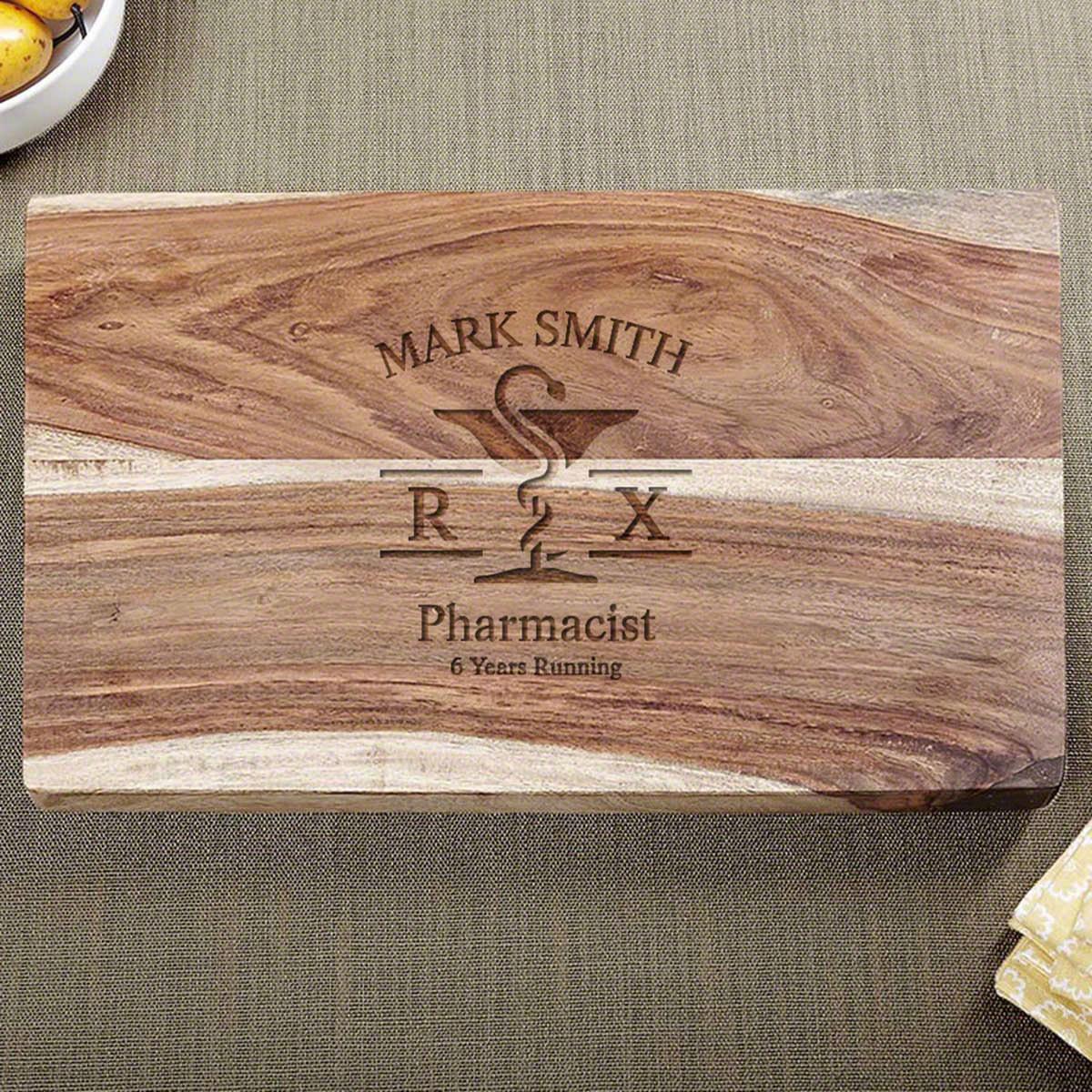 Mortar and Pestle Custom Hardwood Cutting Board Gift for Pharmacist