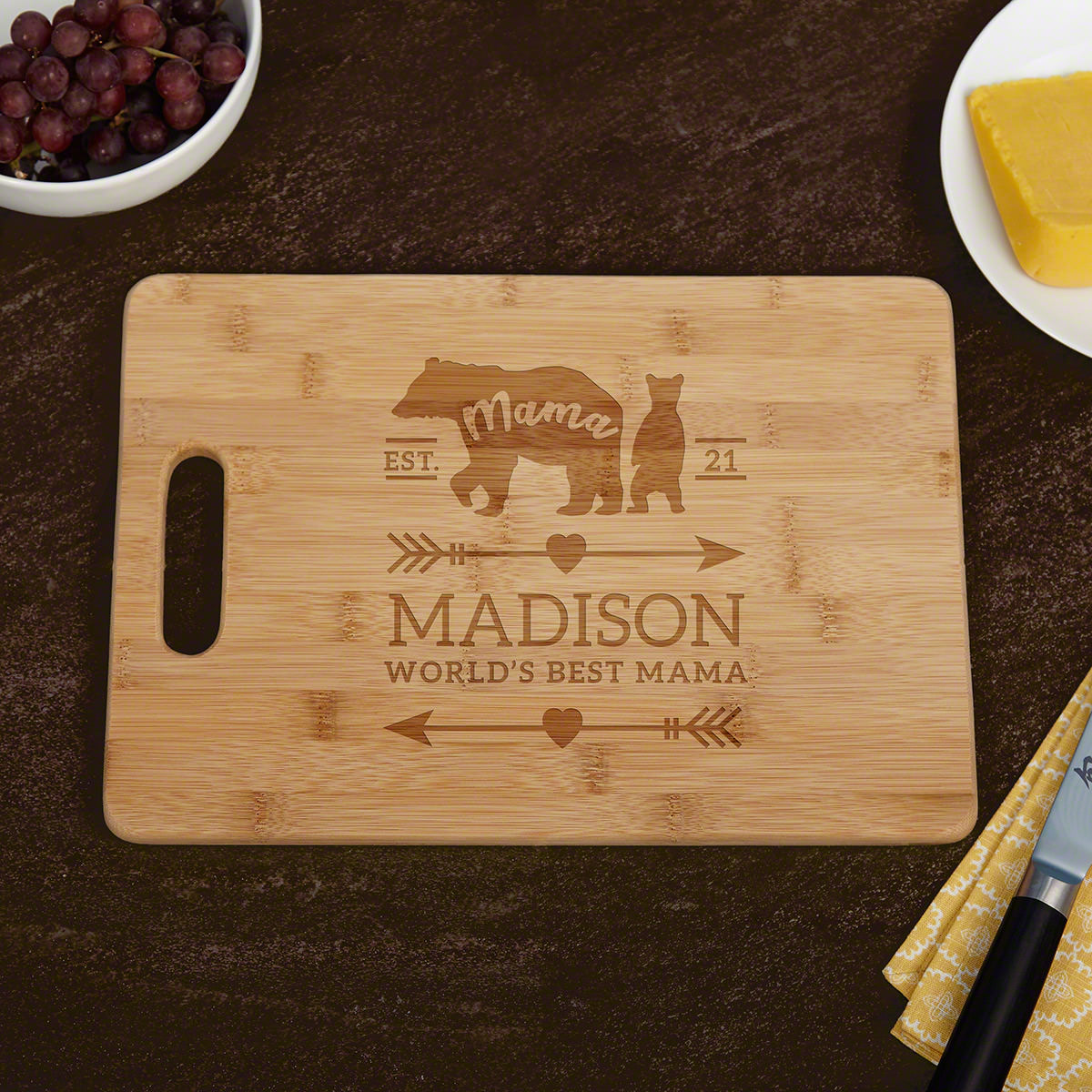 Mama Bear Custom Cutting Board Mom Gift