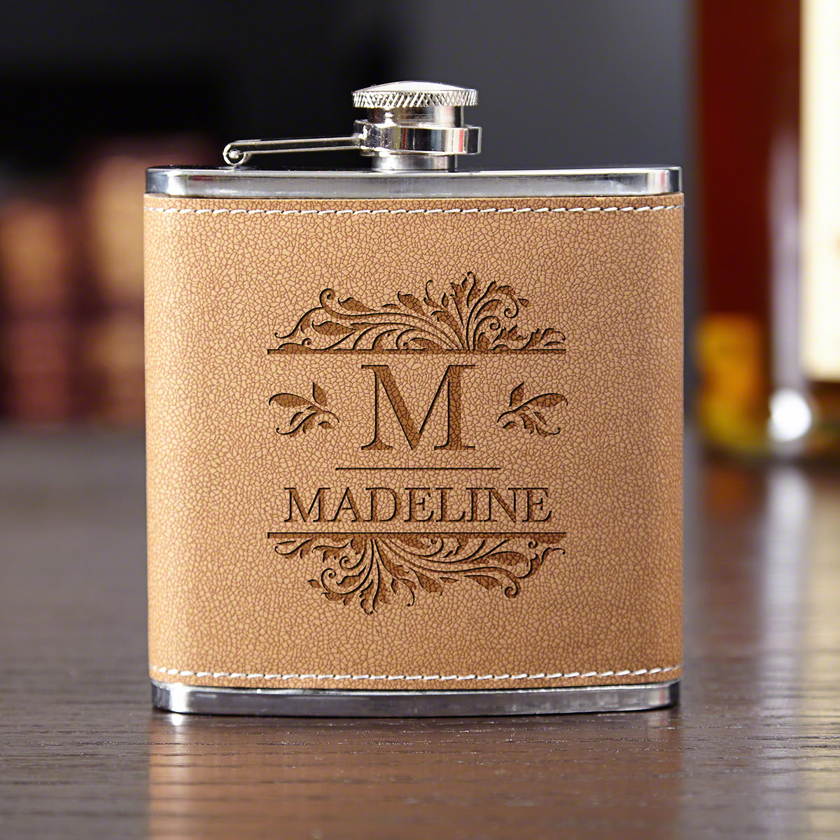 Savannah Leather Personalized Liquor Flask