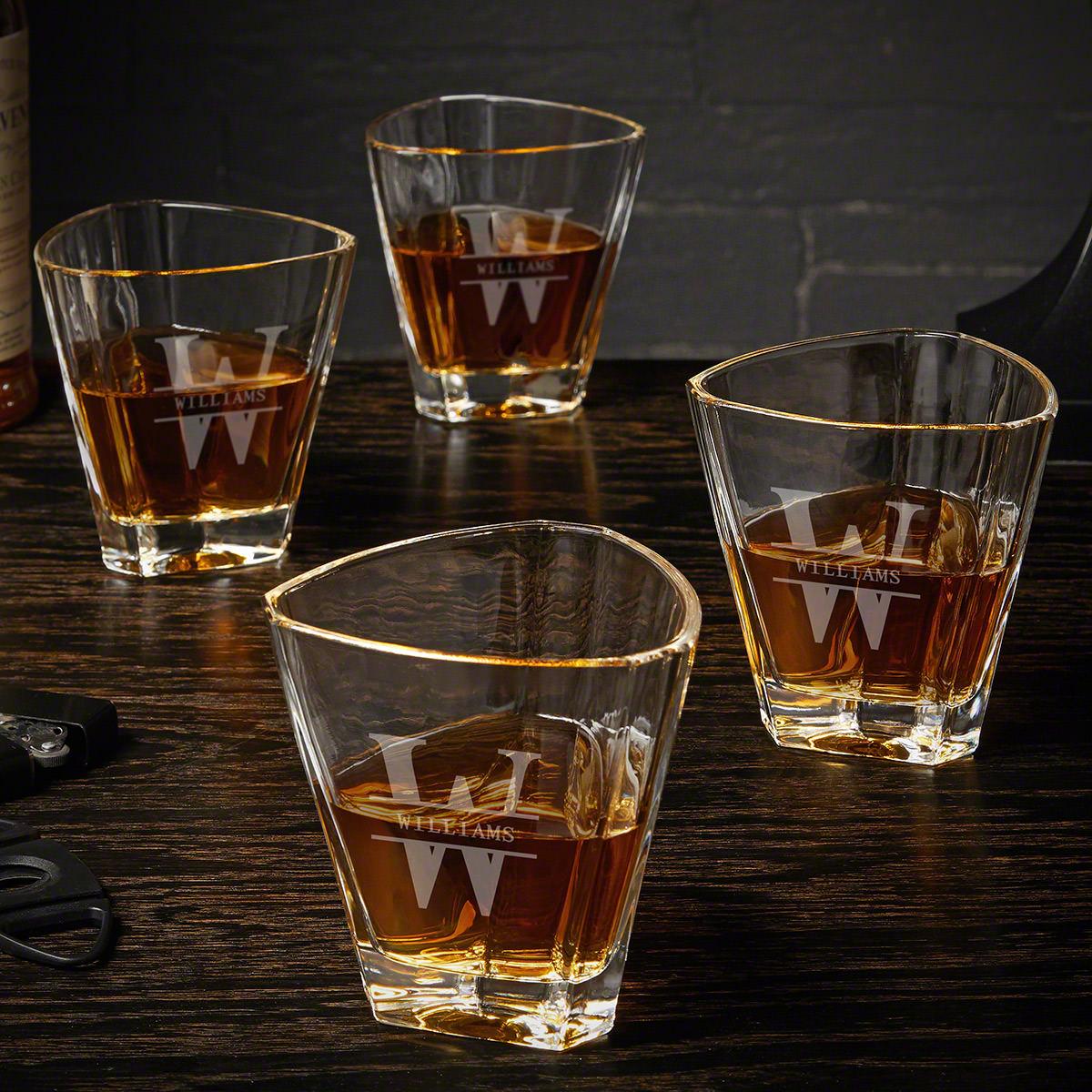 Oakmont Custom Set of 4 Euclid Whiskey Glasses