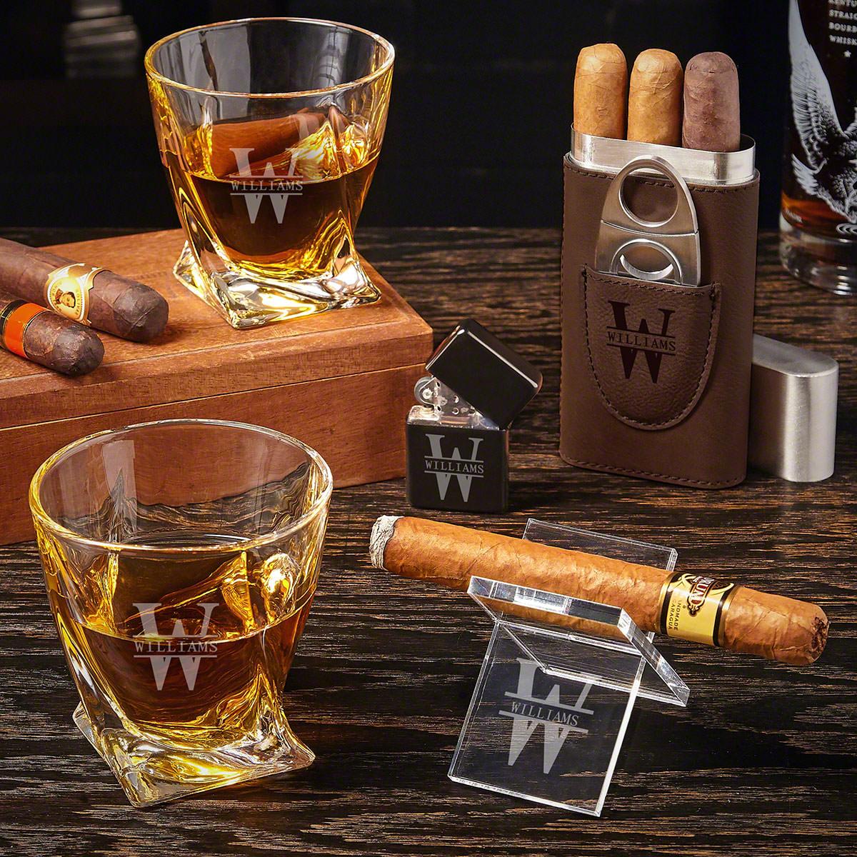 Oakmont Custom Cigar Gift Set with Twist Glasses