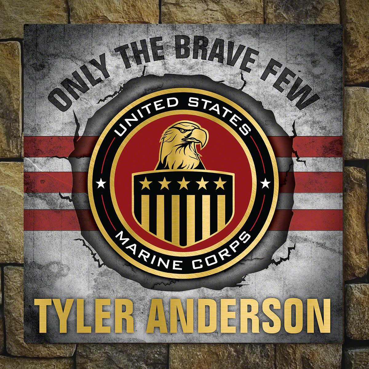 Brave and True Personalized Wood Sign Marine Gift