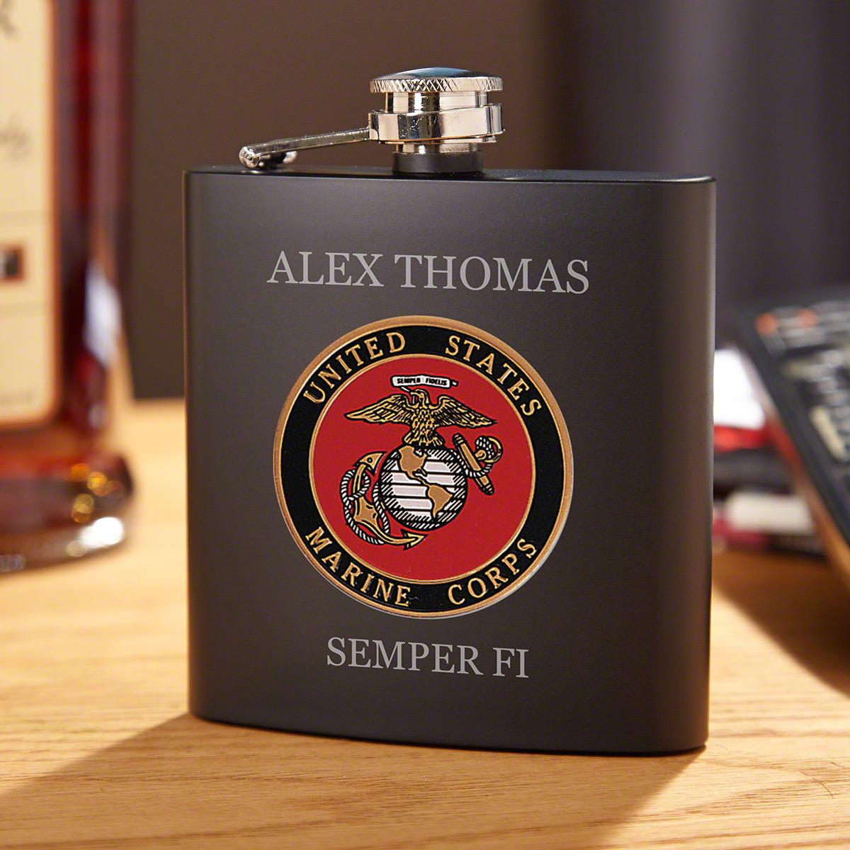 Marine Crest Personalized Blackout Flask US Marine Corps Gift
