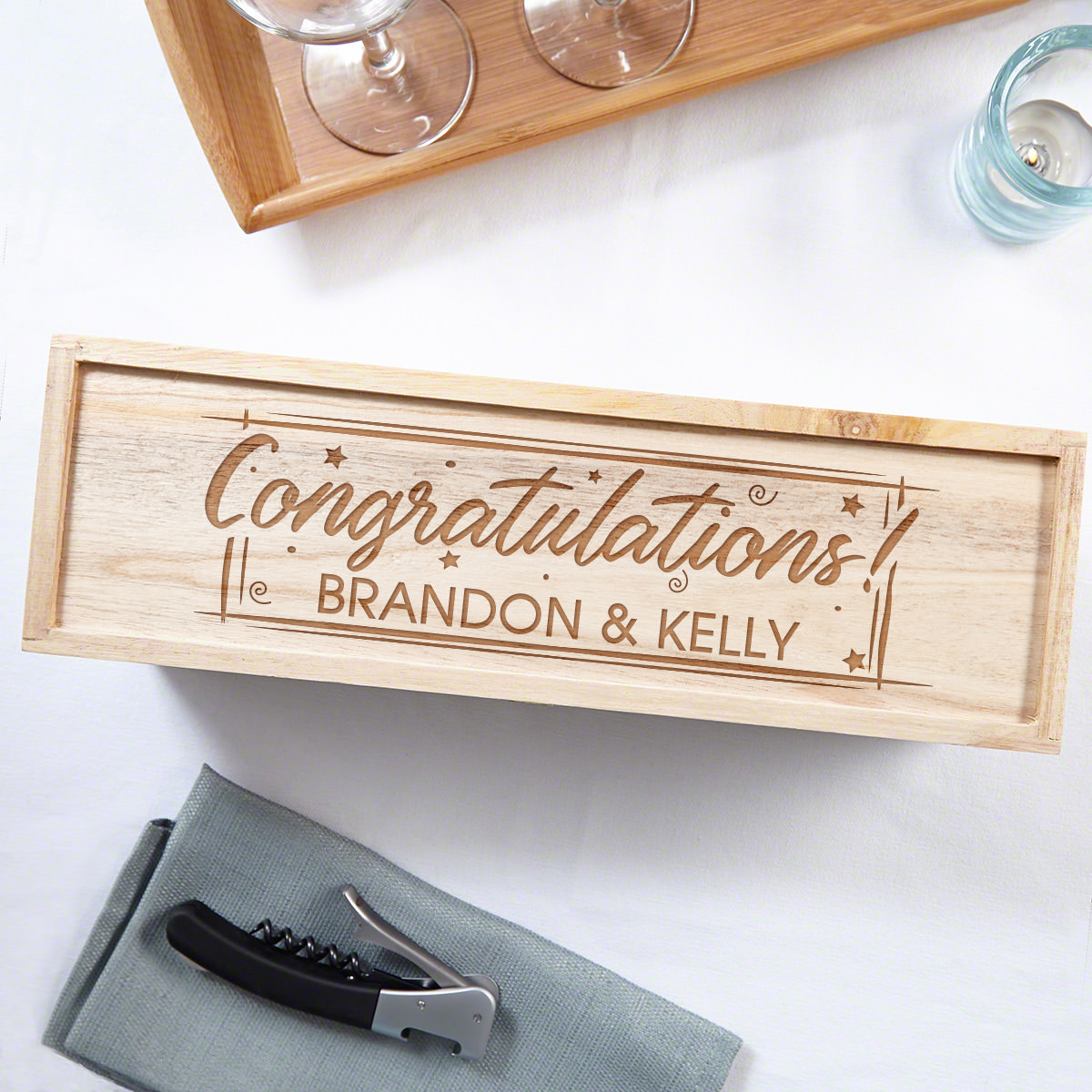 Time to Celebrate Etched Wooden Wine Box Congratulations Gift