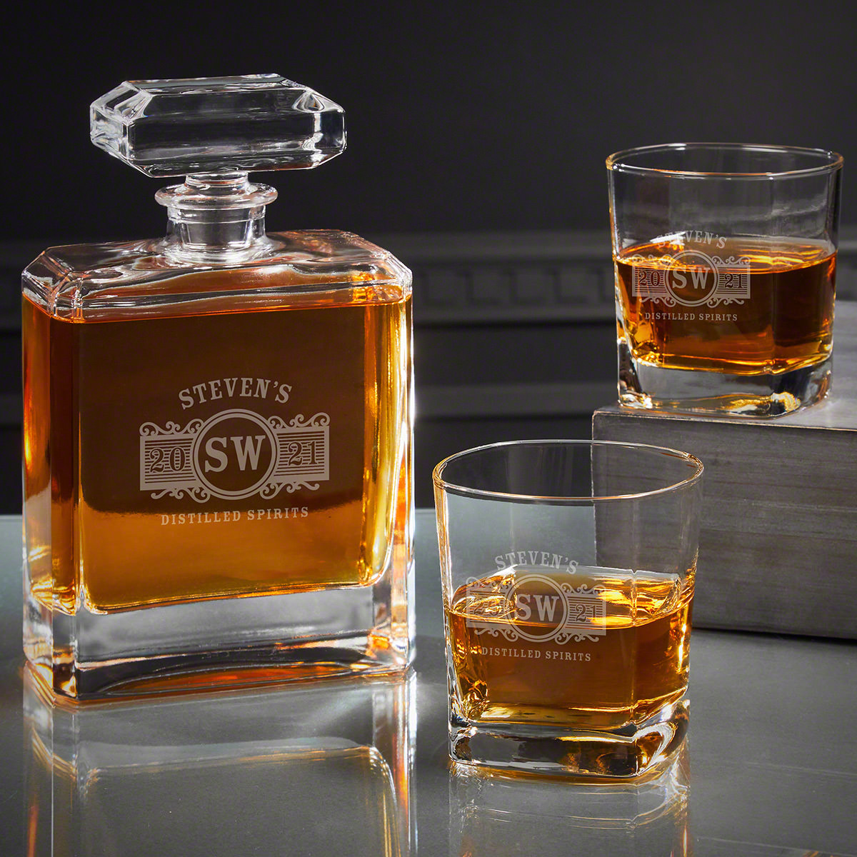 Marquee Etched Cromwell Bourbon Decanter Set
