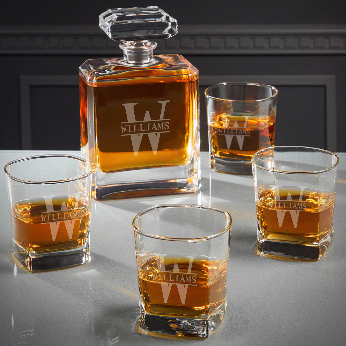Oakmont Engraved Cromwell Whiskey Decanter Set