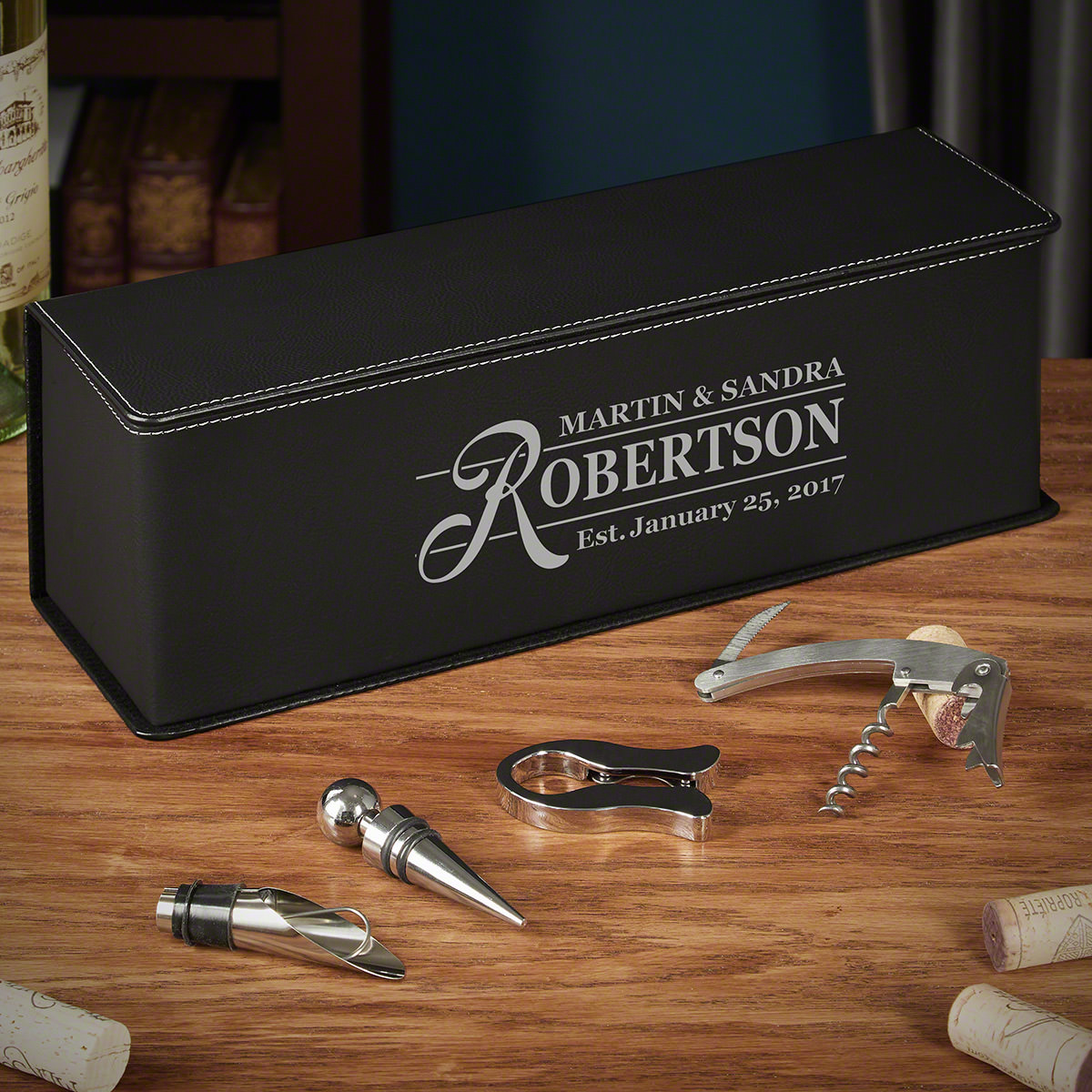 Claremore Custom Black Leather Wine Gift Box