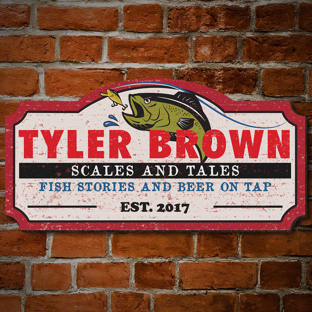 Scales and Tales Personalized Wood Sign Fishing Decor