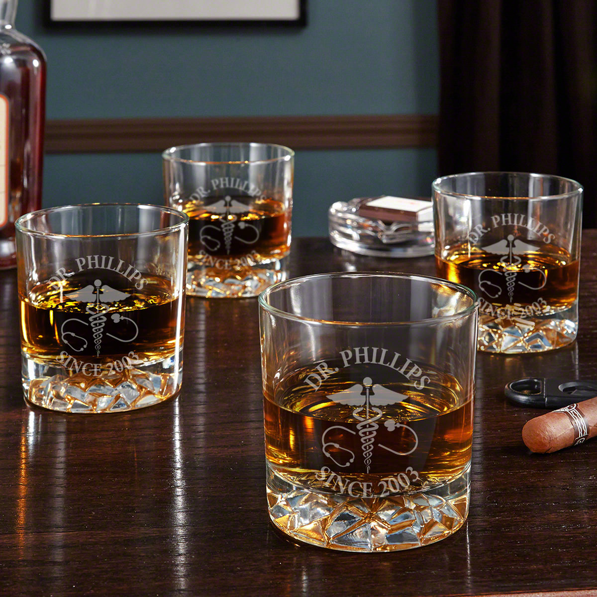 Caduceus Personalized Set of 4 Fairbanks Glasses Gifts for Med Students