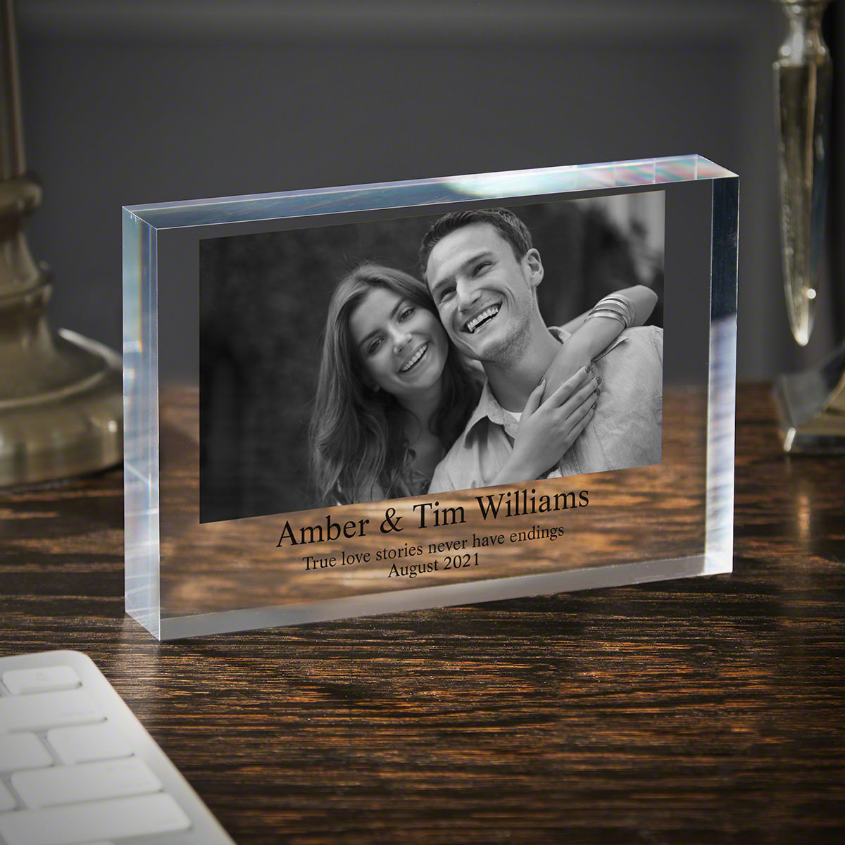 Let's Get Married Personalized Acrylic Block Engagement Gift 6x8