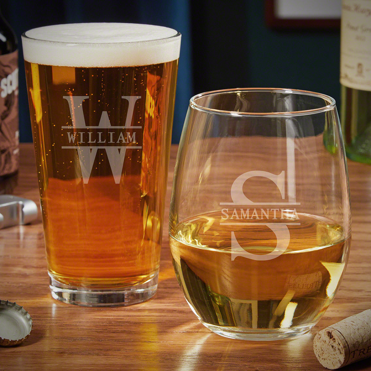 Oakmont Personalized Wine and Pint Glass Set Gifts for Couples