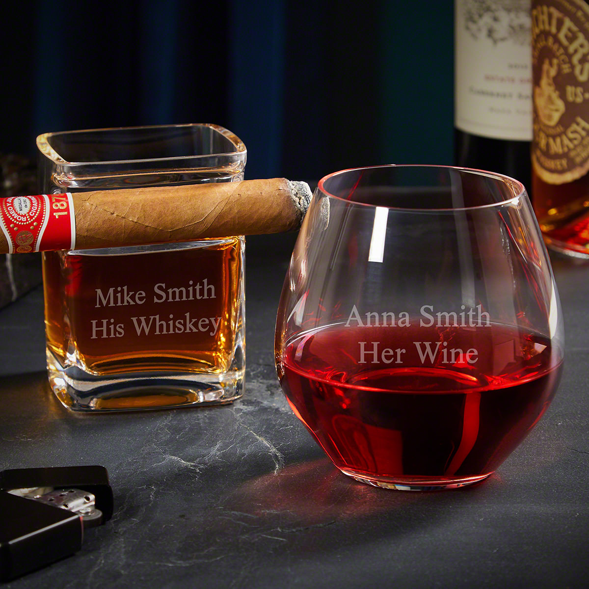 Personalized Whiskey Cigar Glass and Wine Glass His and Hers Gifts