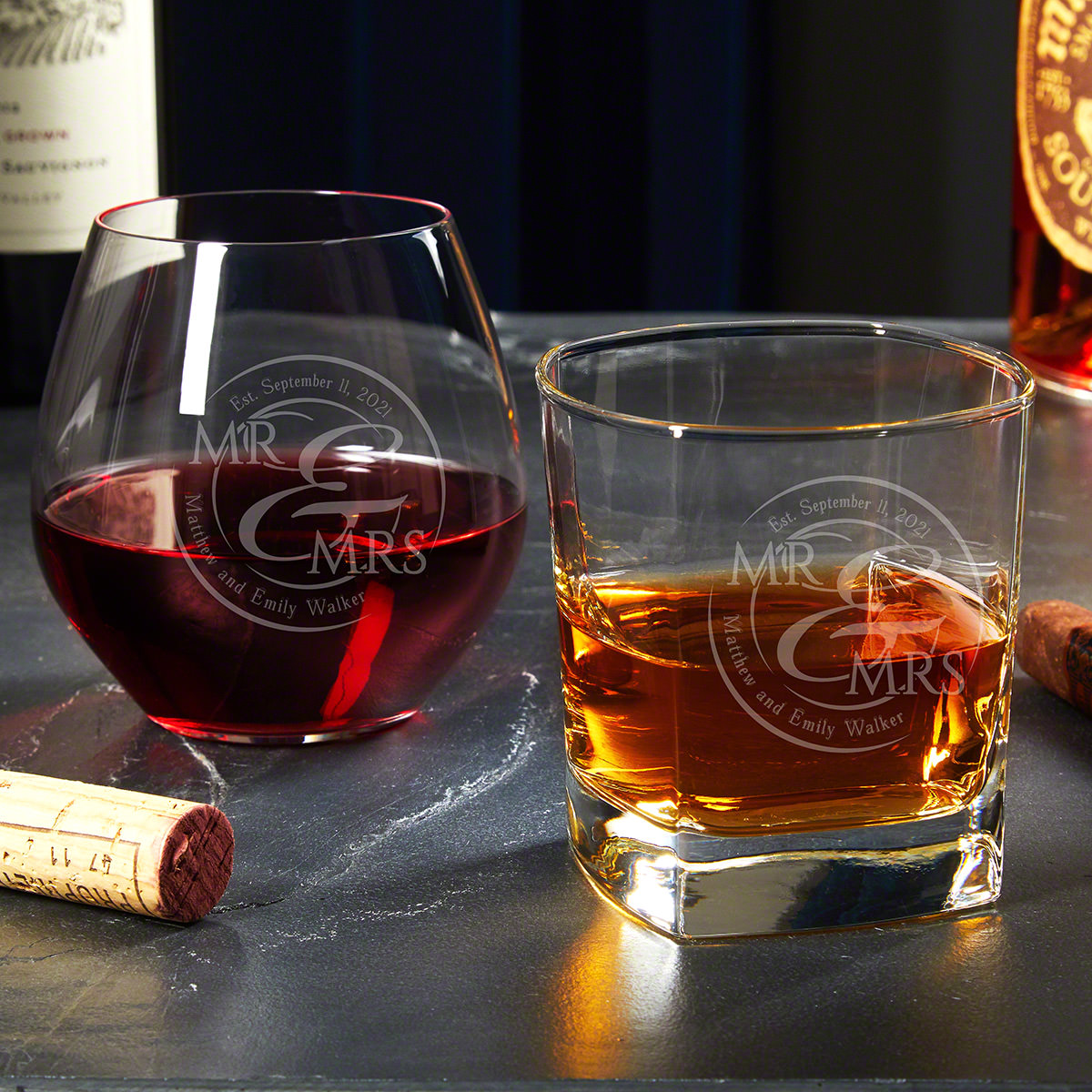 When Love Comes Together Custom Whiskey and Wine Glass Set His and Hers Gifts