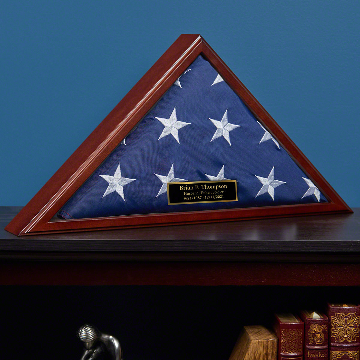 Personalized Cherry Hardwood Memorial Military Flag Case