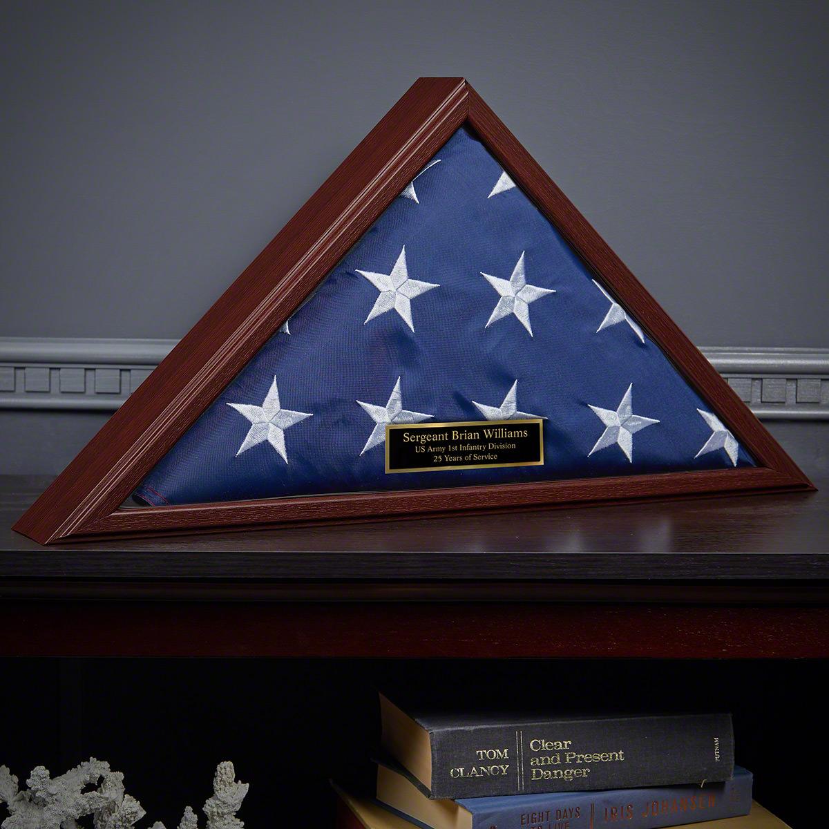 Custom Cherry Composite Wood Flag Case Military Retirement Gift