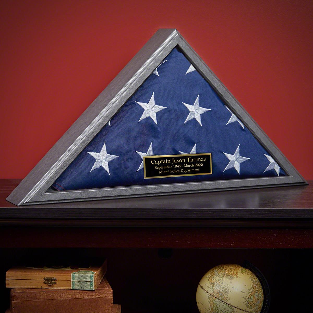 Personalized Gunmetal Hardwood Police Memorial Flag Case