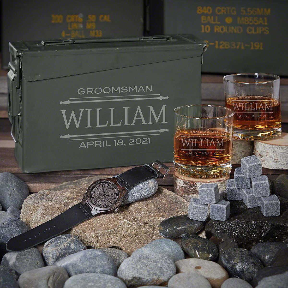 Stanford Personalized 30 Cal Whiskey Groomsman Gift Ideas with Watch