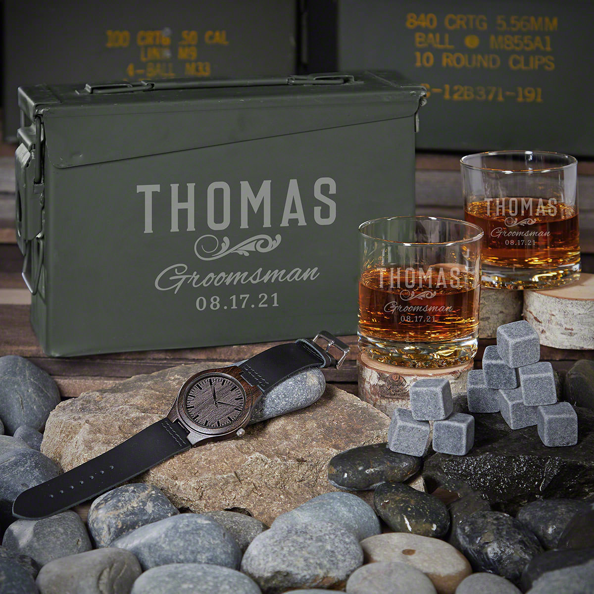 Classic Groomsman 30 Cal Ammo Can Set of Personalized Groomsmen Gifts