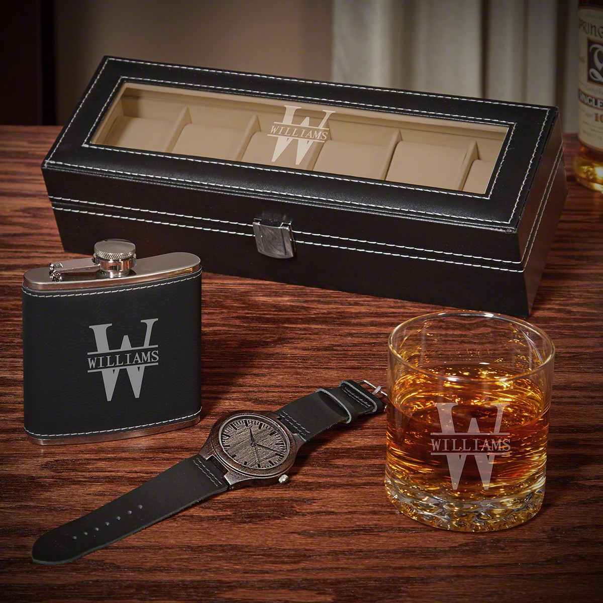 Oakmont Watch Case Gift Set of Personalized Gifts for Him